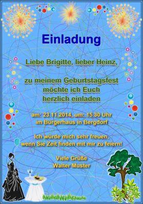 Einladungskarte: Einladung zum Geburtstag