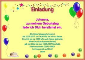 Querformat Einladung Zum Kindergeburtstag Für Mädchen Und Jungen