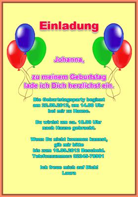 Einladungskarte: Einladung zum Kindergeburtstag