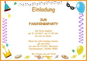Querformat Einladung Faschingsparty