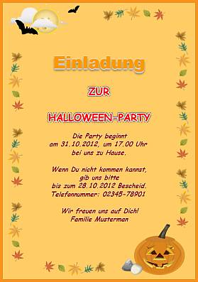 Einladungskarte: Kinder Halloweenparty