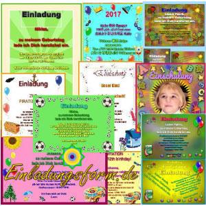 Kostenlose Kindergeburtstag-Einladungen zum Gestalten, Ausdrucken und Basteln