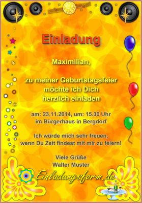 Einladungskarte Einladung Zum Geburtstag