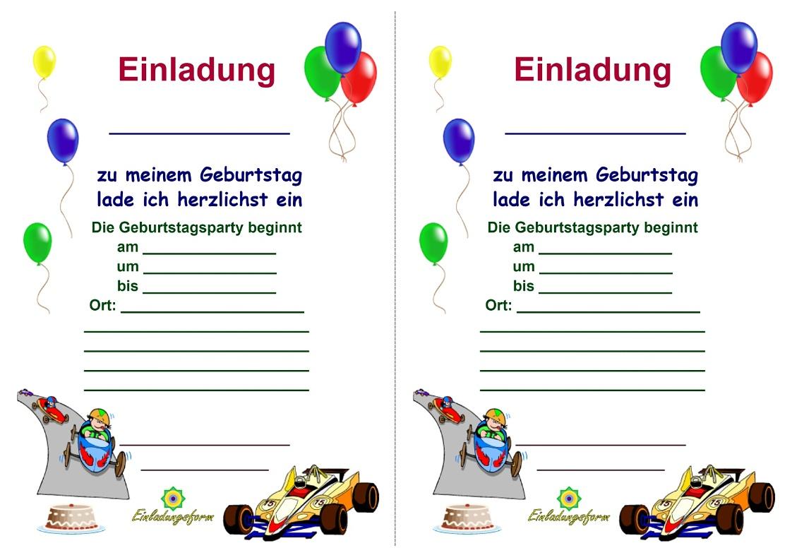 einladungskarten kindergeburtstag zum ausdrucken - jungs