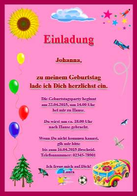 Einladungskarte Einladung Zum Kindergeburtstag