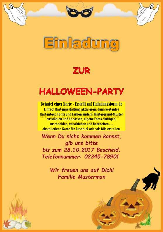 einladungskarte halloween party feiertage. Black Bedroom Furniture Sets. Home Design Ideas