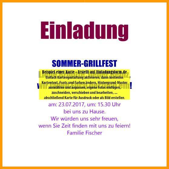 quadratische vorlage: einladung zur grillparty, Einladung