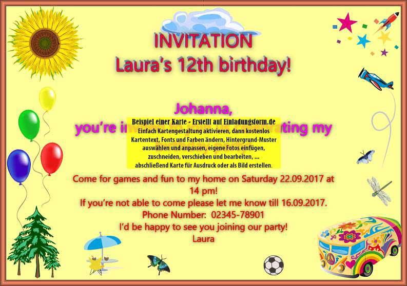 einladung zum geburtstag in englisch, Einladung