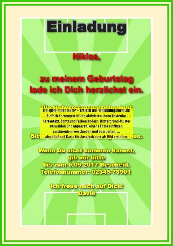 einladungskarte kindergeburtstag - fußballspiel, Einladung
