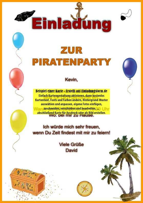 kindergeburtstag einladung piratenparty selbst ausdrucken, Einladung