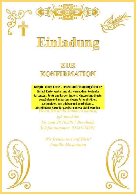 einladungskarten konfirmation und kommunion, Einladung