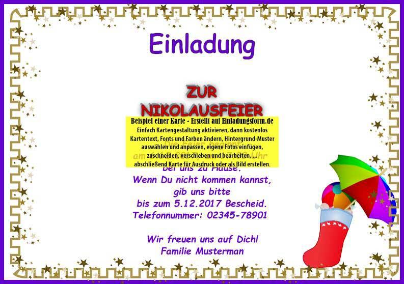 querformat einladungskarte nikolaustag, Einladungen