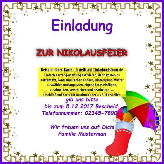 quadratische vorlage: feiertage - einladungskarte nikolaustag, Einladung