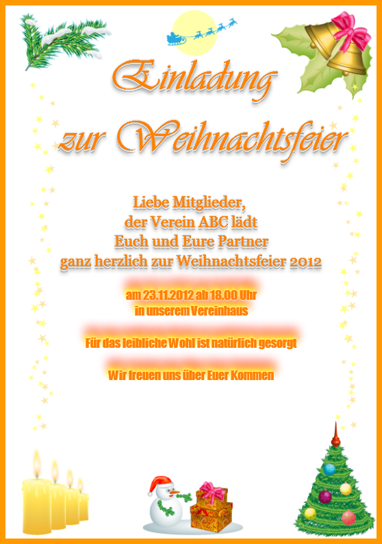 Einladungsschreiben Zur Weihnachtsfeier.Beispielkarte Weihnachtsfeier Weihnachtsgrußkarte