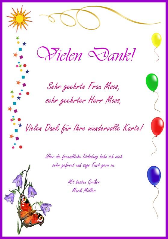 danksagung und zusage - beispielbild einer dankeskarte, Einladung
