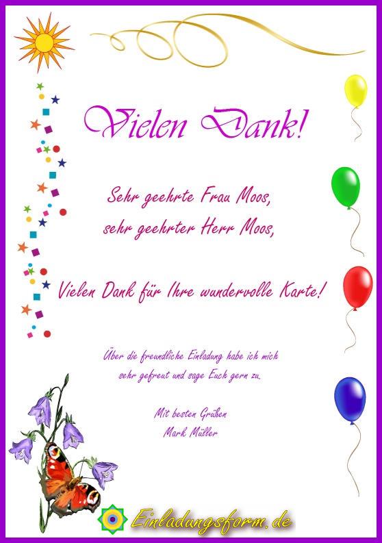 Danksagung und Zusage - Beispielbild einer Dankeskarte